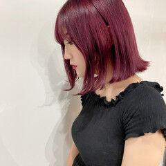 ピンクバイオレット モード ピンクベージュ ベリーピンク ヘアスタイルや髪型の写真・画像