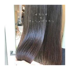 イルミナカラー アッシュブラウン ツヤ髪 セミロング ヘアスタイルや髪型の写真・画像