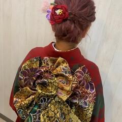 ヘアアレンジ セミロング ガーリー 成人式ヘアメイク着付け ヘアスタイルや髪型の写真・画像