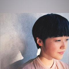 ブルーブラック ショートボブ ショート ミニボブ ヘアスタイルや髪型の写真・画像