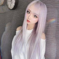 ホワイト エクステ ロング シースルーバング ヘアスタイルや髪型の写真・画像