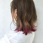 裾カラー ピンク ナチュラル 切りっぱなしボブ