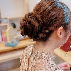フェミニン お団子アレンジ ミディアム お団子ヘア ヘアスタイルや髪型の写真・画像