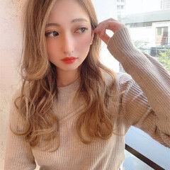 ロング 前髪 フェミニン シースルーバング ヘアスタイルや髪型の写真・画像
