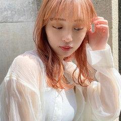 ピンクベージュ ラベンダーピンク ハイトーン ナチュラル ヘアスタイルや髪型の写真・画像