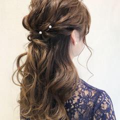 結婚式 ヘアアレンジ セミロング ナチュラル ヘアスタイルや髪型の写真・画像