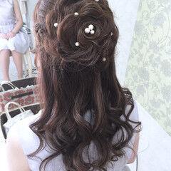ハーフアップ 花 ヘアアレンジ ロング ヘアスタイルや髪型の写真・画像