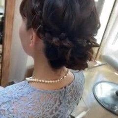 フェミニン セミロング ヘアアレンジ ヘアセット ヘアスタイルや髪型の写真・画像