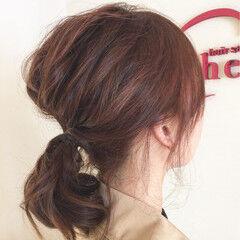 ヘアアレンジ ミディアム 簡単ヘアアレンジ ローポニーテール ヘアスタイルや髪型の写真・画像