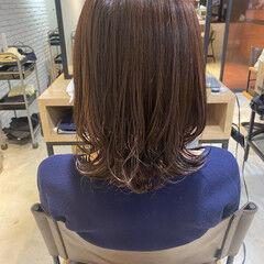 ウルフカット 毛先パーマ デジタルパーマ ミディアム ヘアスタイルや髪型の写真・画像