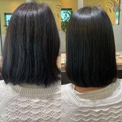 ナチュラル ボブ 縮毛矯正 髪質改善 ヘアスタイルや髪型の写真・画像