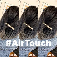 アッシュベージュ ストリート エアータッチ バレイヤージュ ヘアスタイルや髪型の写真・画像