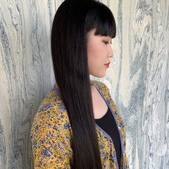 髪質改善 髪質改善カラー ワイドバング ロング ヘアスタイルや髪型の写真・画像