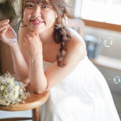 フェミニン セミロング 編みおろし ヘアスタイルや髪型の写真・画像