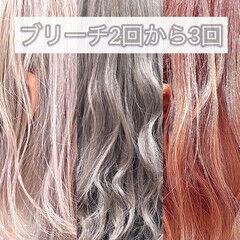 フェミニン 韓国ヘア ホワイトアッシュ ミディアム ヘアスタイルや髪型の写真・画像