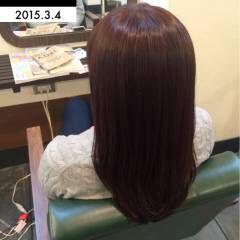 レッド ピンク ストリート 暗髪 ヘアスタイルや髪型の写真・画像