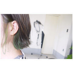 ナチュラル ボブ インナーカラー インナーカラーライム ヘアスタイルや髪型の写真・画像
