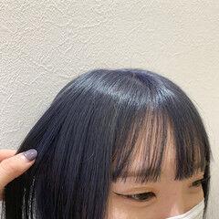 ミニボブ ブルー モード ネイビーカラー ヘアスタイルや髪型の写真・画像