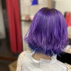 インナーカラー #インナーカラー ガーリー ボブ ヘアスタイルや髪型の写真・画像