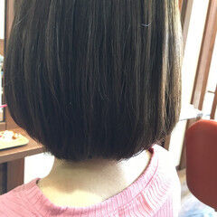 ナチュラル 簡単 ボブ 縮毛矯正 ヘアスタイルや髪型の写真・画像