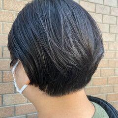 アッシュグレージュ ショート ナチュラル ショートボブ ヘアスタイルや髪型の写真・画像