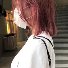 ピンクカラー ミディアム 切りっぱなしボブ ナチュラル ヘアスタイルや髪型の写真・画像