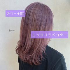 ラベンダーカラー ピンクラベンダー ラベンダーアッシュ ラベンダーグレージュ ヘアスタイルや髪型の写真・画像