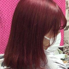 ベリーピンク ピンクバイオレット ミディアム 外国人風カラー ヘアスタイルや髪型の写真・画像