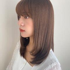 小顔ヘア レイヤーカット セミロング 前髪あり ヘアスタイルや髪型の写真・画像