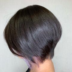 ショート ショートボブ ショートヘア インナーカラー ヘアスタイルや髪型の写真・画像