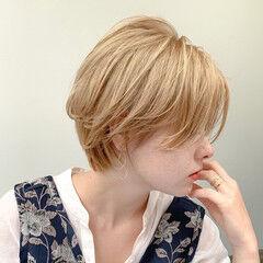 大人ハイライト ショートヘア 外国人風カラー ショート ヘアスタイルや髪型の写真・画像
