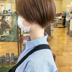 ベージュ ショートボブ ショート 横顔美人 ヘアスタイルや髪型の写真・画像