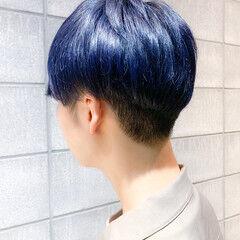 メンズマッシュ メンズショート ネイビーブルー ストリート ヘアスタイルや髪型の写真・画像