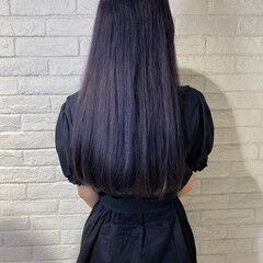 ロング オシャレ モード パープル ヘアスタイルや髪型の写真・画像