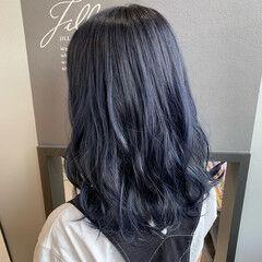 ブルーグラデーション ブルーブラック ネイビーブルー ブルージュ ヘアスタイルや髪型の写真・画像
