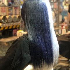 セミロング Wカラー ホワイトカラー エレガント ヘアスタイルや髪型の写真・画像