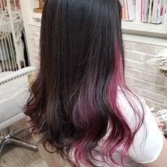ダブルカラー モード ピンク ロング ヘアスタイルや髪型の写真・画像