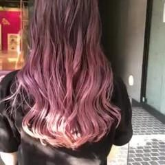 ピンクバイオレット ストリート バレイヤージュ ロング ヘアスタイルや髪型の写真・画像