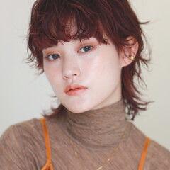 ショート オレンジカラー モード ウルフパーマヘア ヘアスタイルや髪型の写真・画像