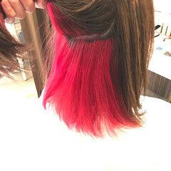 ボブ ブリーチカラー インナーカラー赤 レッドカラー ヘアスタイルや髪型の写真・画像