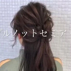 ハーフアップ 簡単ヘアアレンジ 簡単 時短ヘア ヘアスタイルや髪型の写真・画像