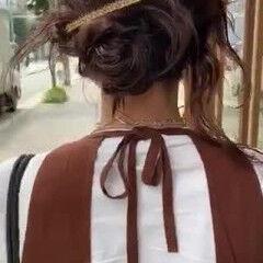 セミロング 前髪パーマ 簡単ヘアアレンジ 無造作パーマ ヘアスタイルや髪型の写真・画像
