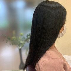 ナチュラル ロング ブルーブラック なんちゃって黒染め ヘアスタイルや髪型の写真・画像