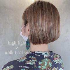 ミニボブ おしゃれさんと繋がりたい デザインカラー ナチュラル ヘアスタイルや髪型の写真・画像