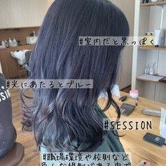 ブルーブラック ブルーラベンダー ガーリー ブルージュ ヘアスタイルや髪型の写真・画像