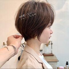 デートヘア ショートボブ ショート シースルーバング ヘアスタイルや髪型の写真・画像