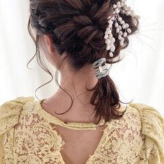 艶髪 セミウェット ヘアアレンジ ナチュラル ヘアスタイルや髪型の写真・画像