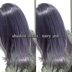 ネイビーアッシュ グレーアッシュ アッシュグレー ネイビーカラー ヘアスタイルや髪型の写真・画像