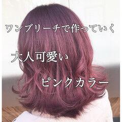 キュート 切りっぱなしボブ ボブ ピンクバイオレット ヘアスタイルや髪型の写真・画像