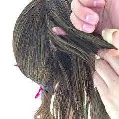 ロング 裏編み込み 簡単ヘアアレンジ 編み込み ヘアスタイルや髪型の写真・画像